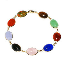 14K Yellow Gold Oval Scarab Gemstone Bracelet 8 Inches