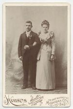 CABINET CARD WEDDING DAY COUPLE  PAINTED BACKGROUND DRAPERY. MICHIGAN CITY,IND.
