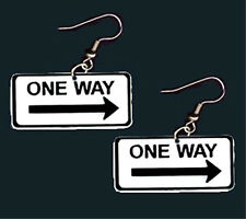 Funky Punk ONE WAY EARRINGS Street Traffic Road Sign Novelty Uber Driver Jewelry