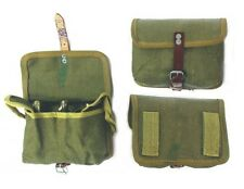 VINTAGE ARMY SURPLUS AMMO POUCH FITS ANY BELT CANVAS & LEATHER cartridge bag