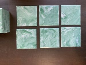 "VINTAGE Mint Green Marbled Polystyrene PLASTIC Wall Bathroom TILE 4 1/4"""