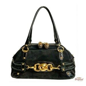 Authentic Gucci Black Suede Patent Leather Horsebit Medium Wave Boston Bag159399