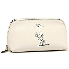 COACH X PEANUTS DANCING SNOOPY WHITE LEATHER COSMETIC BAG LIMITED EDITION CASE