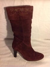 Clarks Maroon Mid Calf Suede Boots Size 5