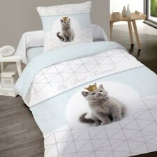 Housse de couette KING CHAT Chaton 140 x 200 + 1 Taie 100% Coton