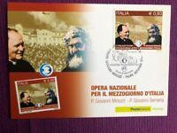 """2009 Cartolina Filatelica FDC """"Opera per Mezzogiorno d'Italia"""" Annullo SANREMO"""