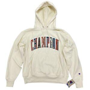 Champion Men's Reverse Weave Hoodie Sweatshirt Size Large Chalk White Multicolor