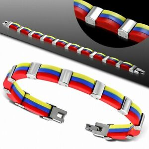 Bracelet for Men Steel And Rubber Red Blue And Yellow
