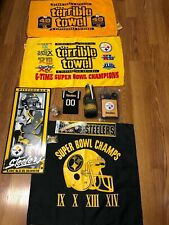 Pittsburgh Steelers NFL Ultimate Fan Lot Terrible Towels Flag Coozie Sign Flask+