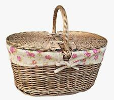 Deep Antique Wash Oval Wicker Willow Picnic Basket With Garden Rose Lining