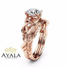 Rose Gold Branch Matching Rings Twig Moissanite Engagement Ring Set 14K