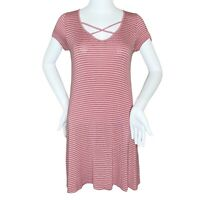 Rolla Coster Pink And White Strappy Neck Striped Shirt Dress- S