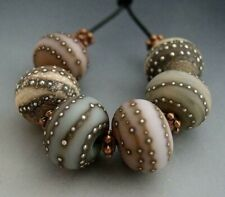 Naos Glass Rustic Dinner Mints 6 Bead Set Focals Glass Handmade Lampwork Beads