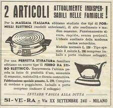 W3446 Fornelli elettrici e ferro da stiro - SIVERA - Pubblicità 1943 - Advertis.