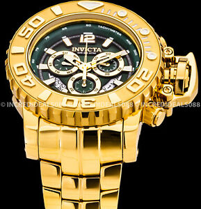 Invicta Men SEA HUNTER HIGH POLISH Green Dial 18K Gold Bracelet 58mm Watch 31427