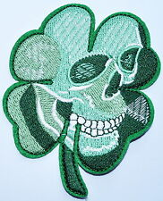 PIRATE SKULL GREEN CLOVER TACTICAL US ARMY MORALE MILITARY IRON ON PATCH