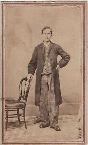 Man Plaid Checked Pants Suit Seneca Falls NY Antique CDV Photo Fashion Overcoat