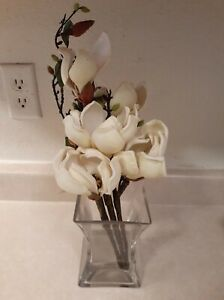 Nearly Natural 4534-WH Magnolia Arrangement with Vase, White