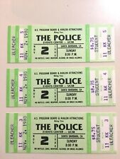 3 The Police/Xtc 1980 Concert Tour Unused Tickets/Sting-Ucsb/Stubs- Very Rare Lot