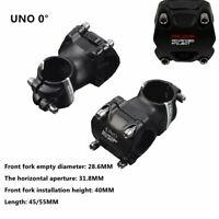 """UNO 0 degree 1-1/8"""" MTB Mountain Road Bike Ultralight Stem 31.8 x 35mm/45mm"""