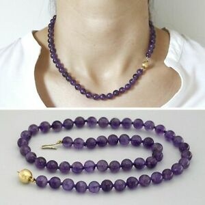 18k Real Yellow GOLD and Natural Genuine AMETHYST Gemstone Purple Bead Necklace