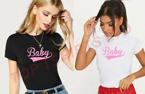 Women's BABY PINK T-Shirt Fashion TUMBLR Cute 90s Tshirt Short Sleeve Casual Top