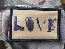 Love Weapons Morale Patch Funny Tactical ARMY Hook Military USA Badge Flag