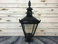 Black Vintage Victorian Garden Street Post Lantern Lamp Top Metal Glass Light