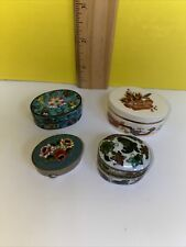 Vintage Pill Box Lot Of 4 Italy China England Very Old