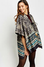New Hippy Boho Look Warm Thick Feather Poncho one size & plus 14 16 18 20 22 24