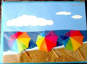Papyrus 3D Glitter Beach Umbrellas BLANK Any Occasion Greeting Card