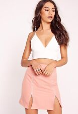 BNWT Missguided Textured Bralet Size 14 Cross Strap Crop Top Vest Cami Cream