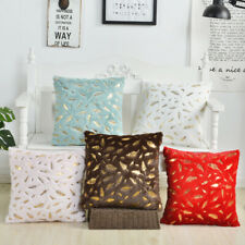 "18"" Gold Leaf  Cushion Cover Faux Fur Plush Pillow Case Home Decor"