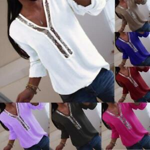 Womens Casual Ladies T Shirt Holiday Blouse Basic Tee Sequins Long Sleeve Tops