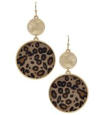 "New Leopard Print Circle Dangle Earring W/ Gold 1.5"" Hook Dangle Earrings"