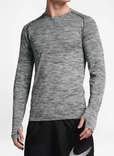 Nike sz L Men's Dry KNIT LS Running Top Shirt w Thumbholes NEW  833565 010 Black