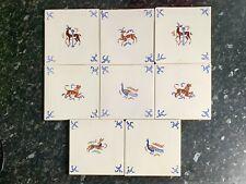 More details for vintage reclaimed pilkington english delft style tiles x8 hare pheasant deer