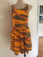 Ladies Bright Orange SUNNY GIRL Dress Size 12 Mid Length Sleeveless Fitted Work
