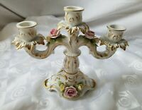 Kaiser Porcelain 3 Candle Candelabra Pink Yellow Roses BEE W Germany