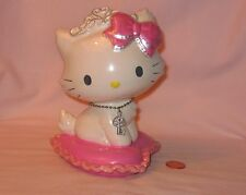 Ceramic Coin Bank Of Hello Kitty Sitting On A Heart Shape Pillow; By Sanrio 2005