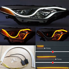 2x LED Tube Car Indicator Turn Signal Light Flexible Dynamic Lamps DRL Universal