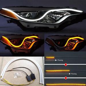 2x LED Tube Car Indicator Turn Signal Light Flexible Dynamic Lamps DRL Universal