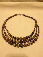 "Cat's Eye Brown Gemstone Beaded Fashion 19"" Strand Necklace"