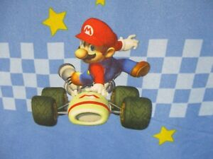 Mario Kart DS Nintendo Twin Flat Sheet Luigi Donkey Kong Blue Novelty DOM1D
