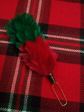 T C Feather Plume Hackle Glengarry Cap Green & Red/Balmoral Hats Plume Hackle 6""