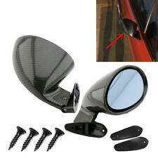Car Left & Right Rearview Blue Plane Mirrors F1 Style Real Glossy Carbon Fiber