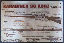 Karabiner K 98  Blechschild mit PRÄGUNG!,  GEWEHR WEHRMACHT