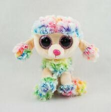 "6"" TY Beanie Boos Poodle Dog Gift Glitter Eyes No Tag Rainbow Plush Stuffed Toys"