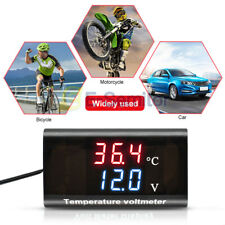 Car Motorcycle DC 12V LED Voltmeter Panel Voltage&Temperature Dual Display Meter