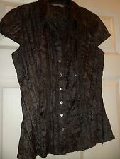 black,cap sleeve,crinkle blouse with sequins/buttons,By Marks & Spencer,size 12,